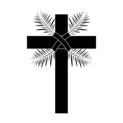 cross with leaves christian catholic paraphernalia  icon image vector illustration design  black and white