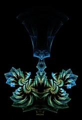 Fine rendering of a fractal resembling a chandelier or a goblet.