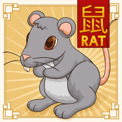 Cute Traditional Chinese Zodiac Animal: Rat, Vector Illustration