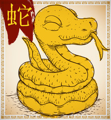 Snake in Hand Drawn and Brushstroke Style for Chinese Zodiac, Vector Illustration