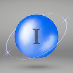 Iodine icon. mineral drop pill capsule. Mineral complex design