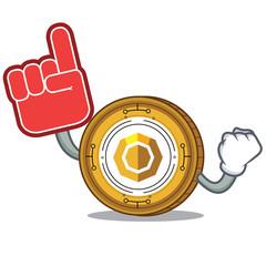 Foam finger komodo coin mascot cartoon