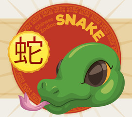 Cute Head of a Snake with Label for Chinese Zodiac, Vector Illustration