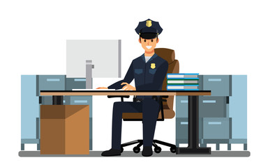 police officers Office, police station , vector character