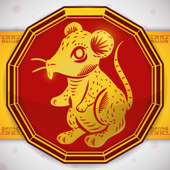 Button with a Golden Rat for Chinese Zodiac, Vector Illustration