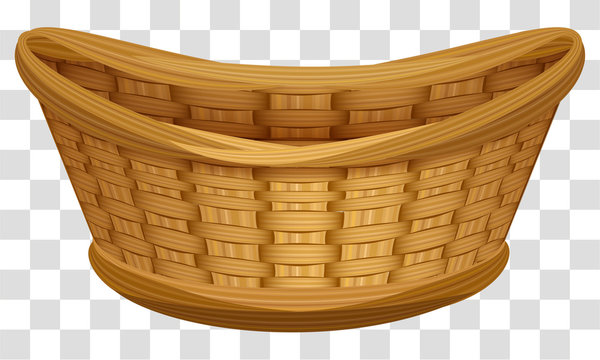 Empty wicker basket for flowers. Large birds nest for eggs