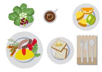 朝食。オムレツとパン。食事のイメージ。