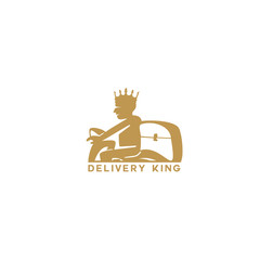minimal delivery man logo with crown vector.