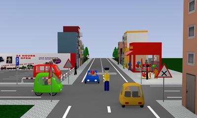 Stadtansicht mit Verkehrssituation: Verkehrsregelung durch einen Polizisten, Halt. 3d render
