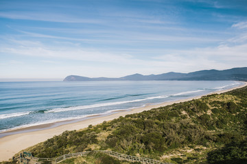 View of Bruny Island beach in the afternoon.