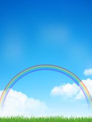 空 虹 草原 背景