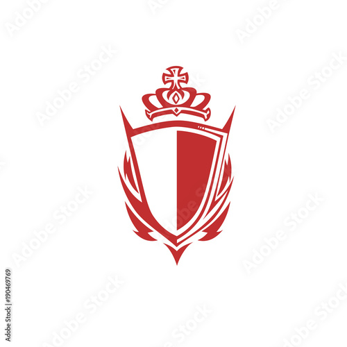 Red Shield With Crown Vector Illustration Stock Image And Royalty