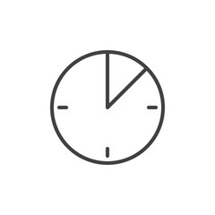 10 minute time line icon, outline vector sign, linear style pictogram isolated on white. Timer clock symbol, logo illustration. Editable stroke