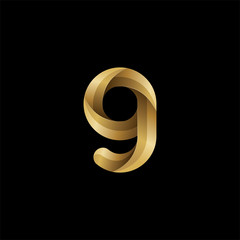 Initial lowercase letter g, swirl curve rounded logo, elegant golden color on black background