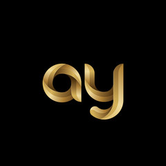 Initial lowercase letter ay, swirl curve rounded logo, elegant golden color on black background