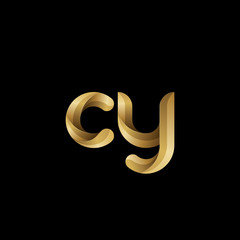 Initial lowercase letter cy, swirl curve rounded logo, elegant golden color on black background