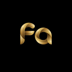 Initial lowercase letter fa, swirl curve rounded logo, elegant golden color on black background