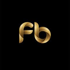Initial lowercase letter fb, swirl curve rounded logo, elegant golden color on black background