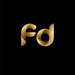 Initial lowercase letter fd, swirl curve rounded logo, elegant golden color on black background