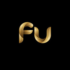 Initial lowercase letter fu, swirl curve rounded logo, elegant golden color on black background