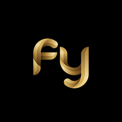 Initial lowercase letter fy, swirl curve rounded logo, elegant golden color on black background