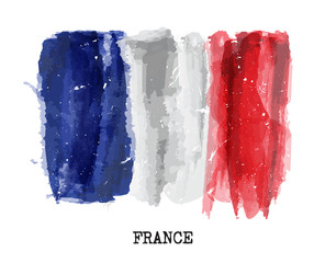 Watercolor painting flag of France . Vector
