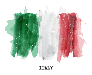 Watercolor painting  flag of Italy . Vector