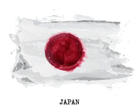 Watercolor painting flag of Japan . Vector