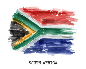 Watercolor painting flag of South africa . Vector