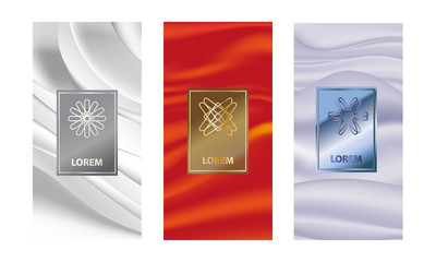 set packaging templates with different texture for luxury products.logo design with trendy linear...