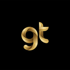 Initial lowercase letter gt, swirl curve rounded logo, elegant golden color on black background