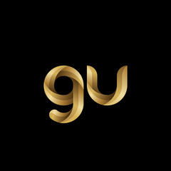 Initial lowercase letter gu, swirl curve rounded logo, elegant golden color on black background