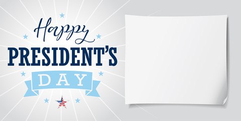Happy Presidents Day USA lettering banner. Happy President`s Day USA hand lettering vector card, star, ribbon, stripes and paper on light background