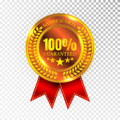 100 percent Satisfaction Guaranteed Golden Medal Label Icon Seal Sign Isolated on White Background. Vector