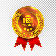 Gold Best Choice Label Illustration Golden Medal Label Icon Seal Sign Isolated on Transparent Background. Vector