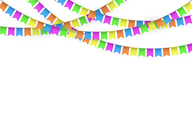 Party Background with Flags Vector, Colored festoons on the white background