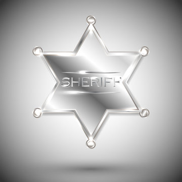 vector silver sheriff star isolated on white background. vector six-pointed star