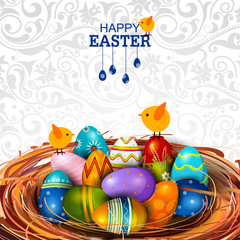 Colorful Painted egg Happy Easter greeting background
