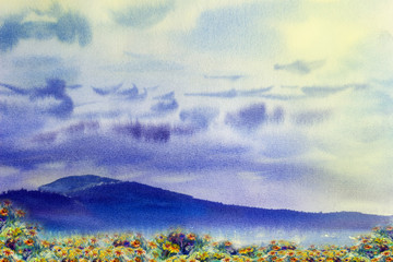 Watercolor painting landscape colorful of daisy flowers yellow.