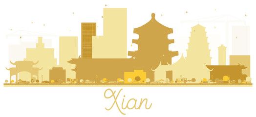 Xian China City skyline golden silhouette.