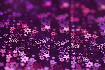 Ultraviolet holographic patterns, close up. stars