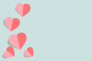vector illustration with pink paper hearts Valentines day card on pastel blue background with copy space for greeting card or wedding card