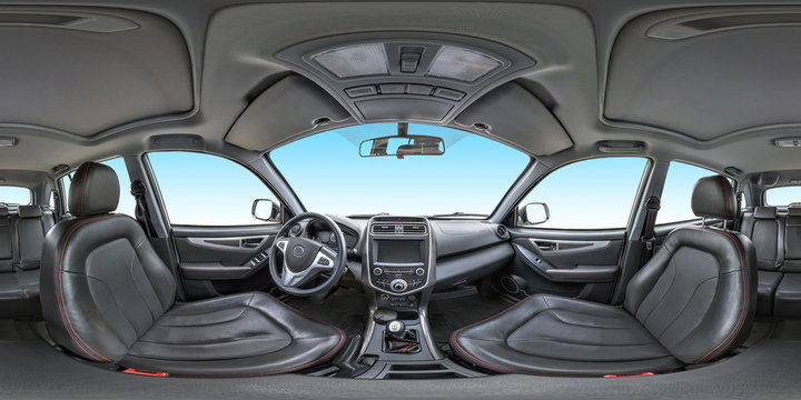 360 angle panorama view in interior salon of prestige modern car. Full 360 by 180 degrees seamless equirectangular equidistant spherical panorama. vr ar content