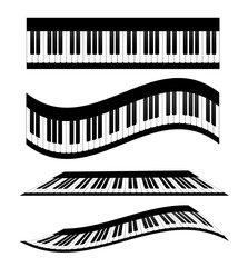 Set of Piano keyboards, stock vector illustration