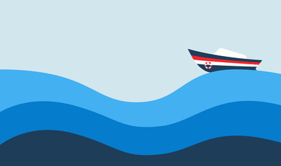 Simple Vector Illustration: The boat on the Sea.