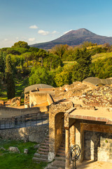 The ruins of ancient city Pompeii and Mount Vesuvius, a famous volcano located on the Gulf of Naples in Campania, Italy,