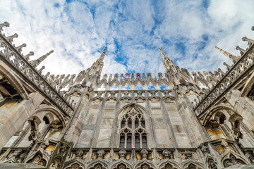 Architectural elements of the Duomo, the main cathedral of Milan.