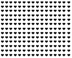 Black hearts on a white background, wallpaper, pattern, design.