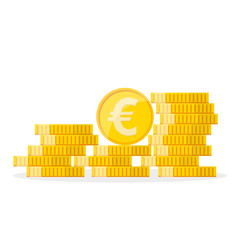 Heap of the golden euro coins. Vector illustration.