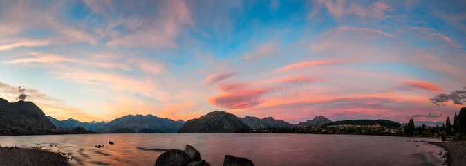 Surreal sunset at lake Wanaka, Otago Region, New Zealand, South Island